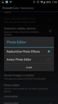Výběr editoru odesílaných fotografií