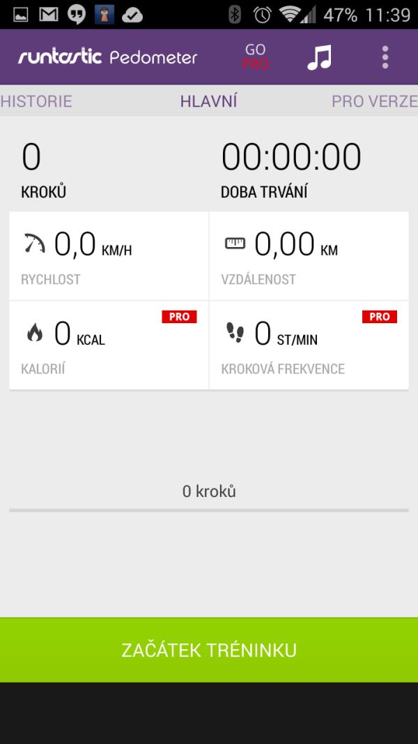 Základní obrazovka aplikace