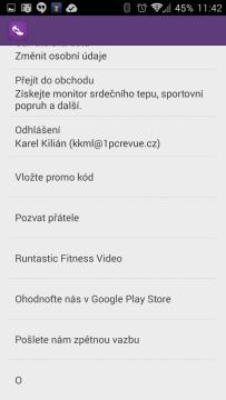 Sekce pro nastavení aplikace