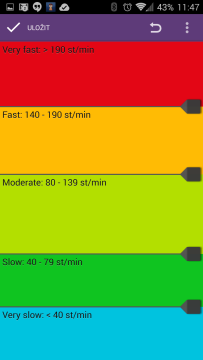 Třídění rychlosti do kategorií