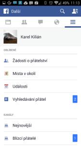 Oficiální aplikace Facebook: sekce