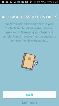 Navigace žádá přístup ke kontaktům
