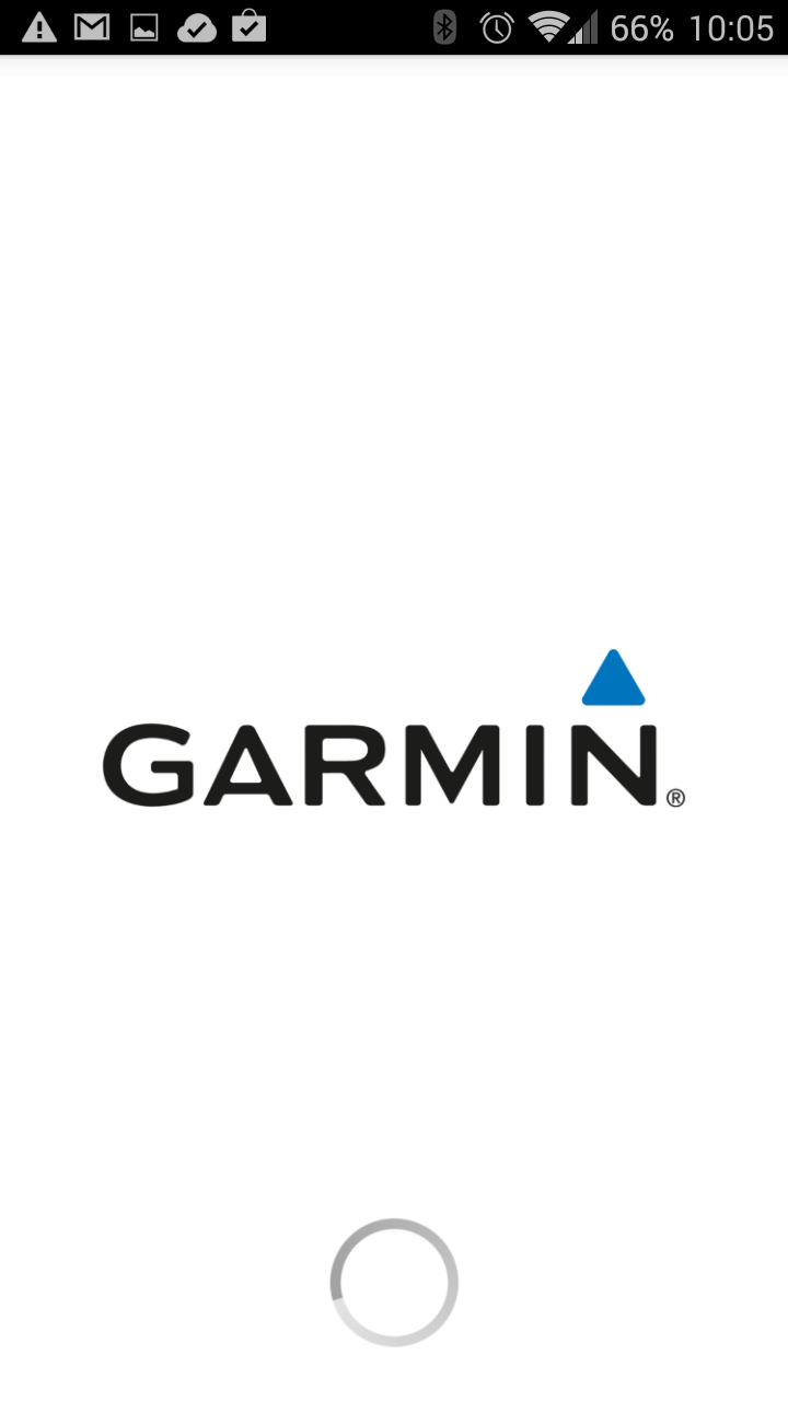 Uživatel se musí spokojit s pohledem na logo Garmin
