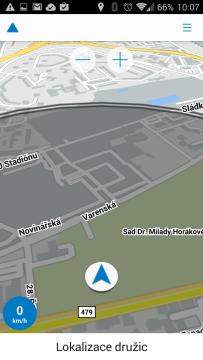 Tlačítka pro přiblížení mapy