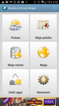Weather & Clock Widget Android: hlavní obrazovka