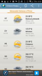 Weather & Clock Widget Android: 5denní předpověď
