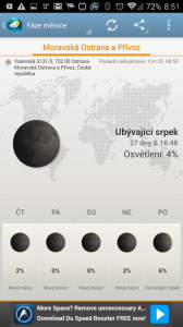 Weather & Clock Widget Android: fáze Měsíce