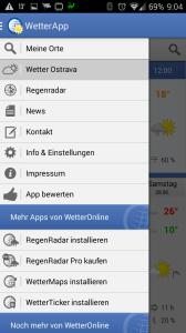 Wetter App: postranní nabídka