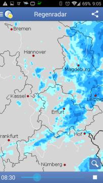 Wetter App: srážkový radar