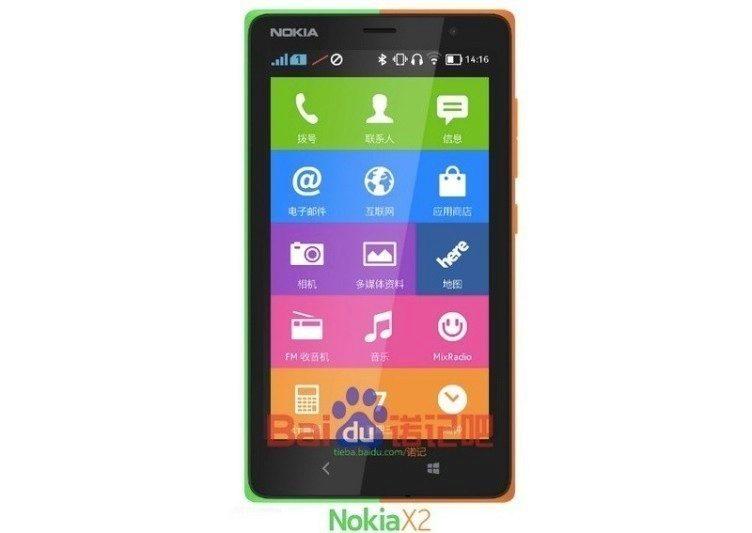 Údajný obrázek telefonu Nokia X2