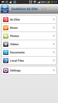 ADATA DashDrive Air AE400 - aplikace - menu