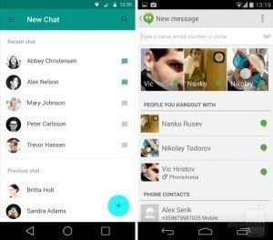 hangouts android l vs android kitkat