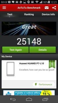 Huawei Ascend P7 recenze - Antutu
