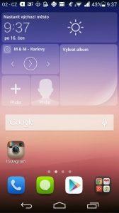 Huawei Ascend P7 recenze - homescreen