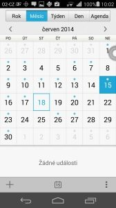 Huawei Ascend P7 recenze - kalendář