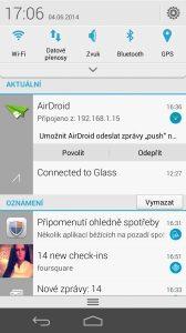 Huawei Ascend P7 recenze - notifikační lišta