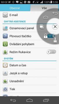 Huawei Ascend P7 recenze - plovoucí tlačítko