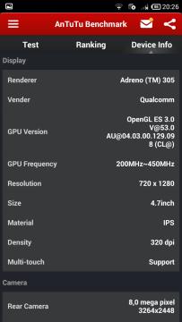 AnTuTu Benchmark - Informace o zařízení - Displej