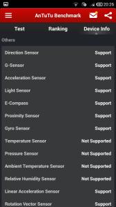 AnTuTu Benchmark - Informace o zařízení - Senzory