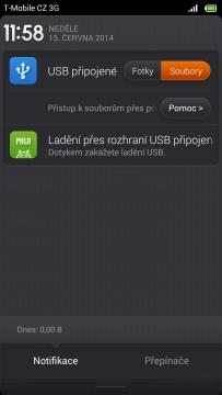 Připojení k počítači - Notifikační lišta