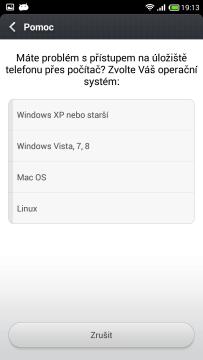 Připojení k počítači - Pomoc - Volba vašeho OS
