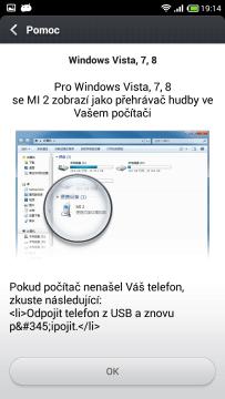 Připojení k počítači - Pomoc - Windows Vista, 7, 8