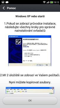 Připojení k počítači - Pomoc - Windows XP