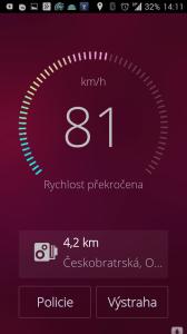 Aplikace ukazuje rostoucí vzdálenost od právě projetého bodu