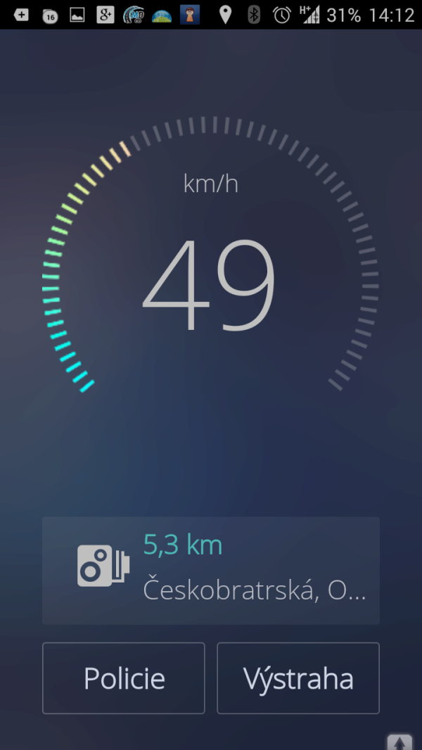 Speedometer by Sygic: hlavní okno aplikace