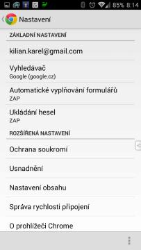 Prohlížeč Chrome – Google: možnosti nastavení
