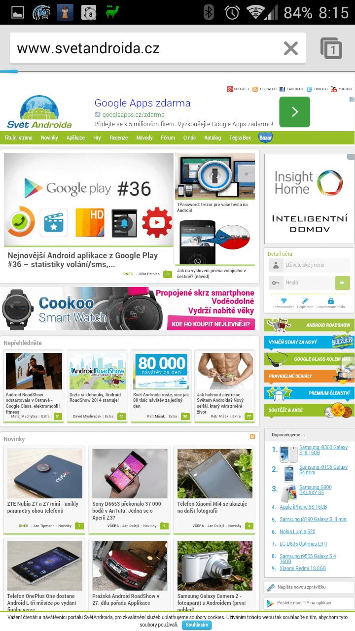 Zobrazení webu SvětAndroida.cz v aplikaci Prohlížeč Chrome – Google