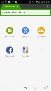 Dolphin Browser: domovská stránka