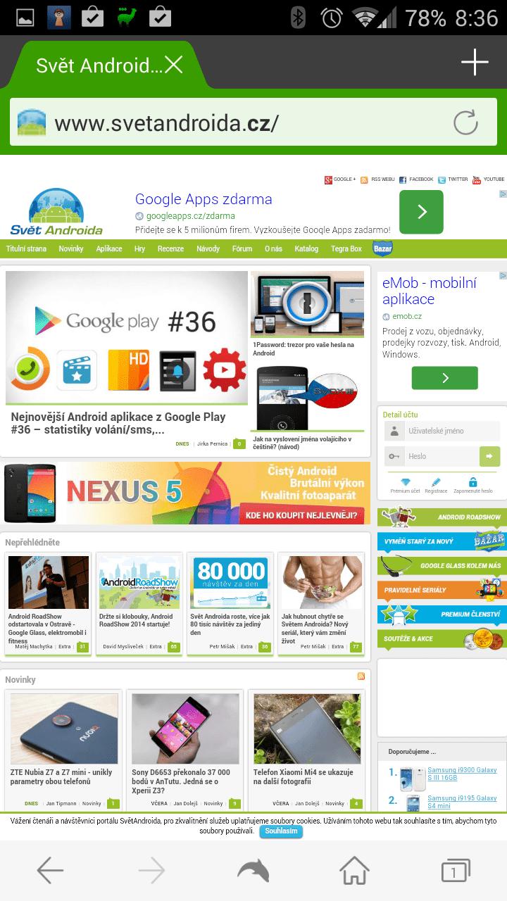 Zobrazení webu SvětAndroida.cz v aplikaci Dolphin Browser