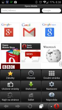 Opera Mobile Classic: nabídka aplikace