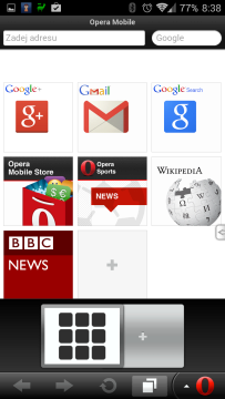 Opera Mobile Classic: práce s kartami