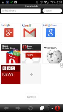Opera Mobile Classic: hlavní obrazovka