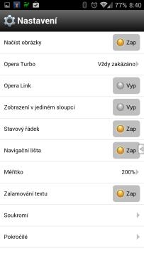 Opera Mobile Classic: nastavení