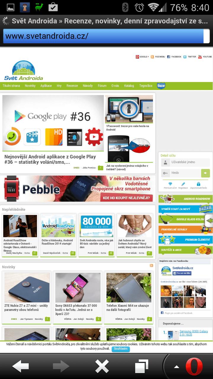 Zobrazení webu SvětAndroida.cz v aplikaci Opera Mobile Classic