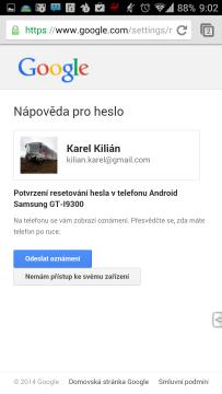 Následuje nabídka resetování hesla v telefonu Android