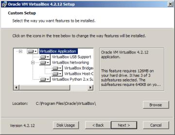 Instalace VirtualBoxu: výběr komponent