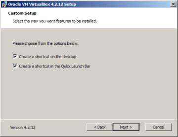 Instalace VirtualBoxu: vytvoření ikon