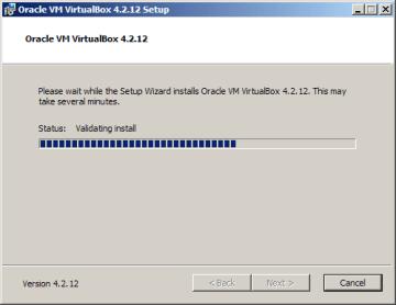 Instalace VirtualBoxu: probíhající instalace