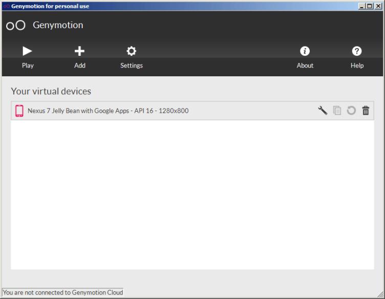 Uživatelské prostředí aplikace Genymotion