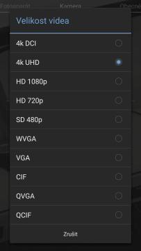 kamera rozlišení videa