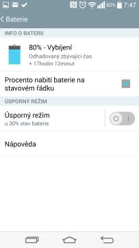 Informace o stavu baterie