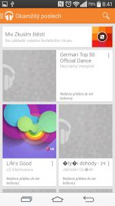 Aplikace Hudba Play - hlavní stránka