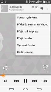 Aplikace Hudba Play - možnosti přehrávače