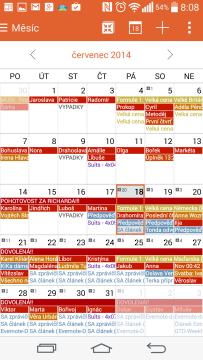Kalendář - měsíční pohled