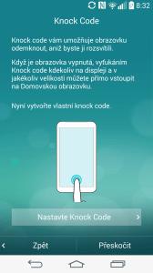 Úvodní nastavení - odemykání funkcí Knock Code