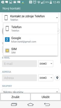 Výběr úložiště kontaktu